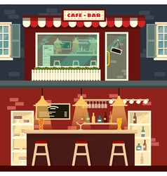 Cafe-bar facade and interior in flat style vector