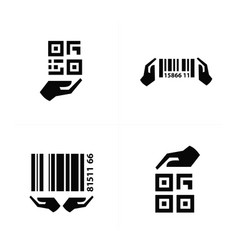 icon hand and barcode design vector image vector image