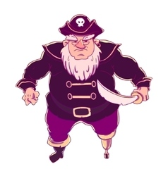 One-legged bearded pirate in a cocked hat with vector image