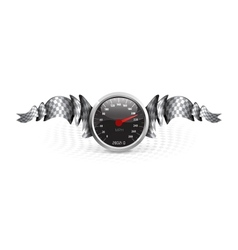 Racing emblem with speedometer vector image vector image