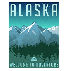 Retro style travel poster Alaska vector image vector image