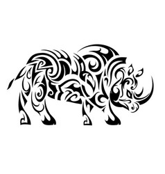 rhino ethnic tattoo vector image