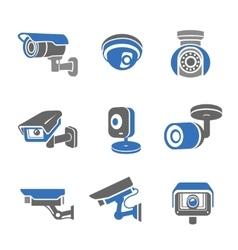 Video surveillance security cameras pictograms vector image