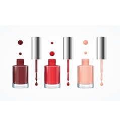 Colorful Nail Polish Open Bottle Set vector image