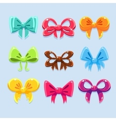 Colorful ribbons and bow ties vector image vector image