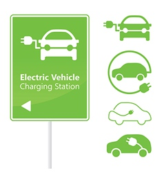 Electric vehicle charging station road sign vector