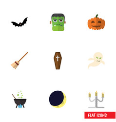 flat icon festival set of superstition monster vector image vector image
