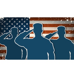 Three US Army soldiers saluting on grunge american vector image