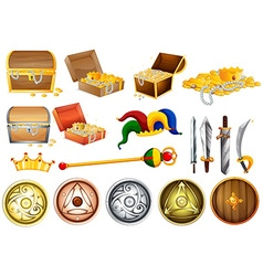 Treassure chest and weapons vector image vector image