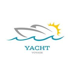 Yacht club logo Sea or ocean trip adventure vector image