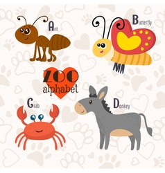 Zoo alphabet with funny animals A b c d letters vector image