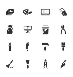 art tools icons set vector image