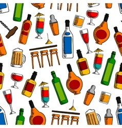 Bar cocktails and alcohol drinks seamless pattern vector image