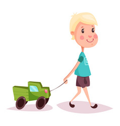 boy or child kid or guy with toy truck or lorry vector image vector image