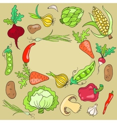 Card with vegetables vector image