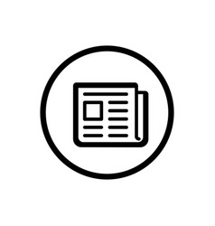 newspaper line icon in a circle and a white vector image vector image
