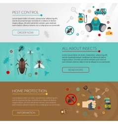 Pest Control Extermination 3 Flat Banners vector image vector image
