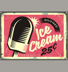 retro fifties tin sign with delicious ice cream vector image