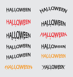 set of halloween calligraphy abstract vector image