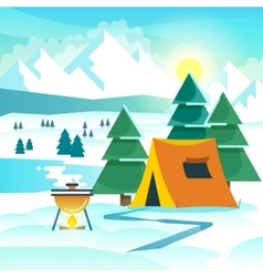 Winter hiking background with tent and vector image