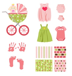baby girl elements vector image vector image