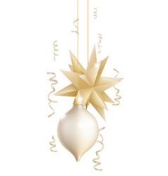 beautiful gold and white christmas baubles vector image vector image