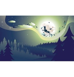 Flying Witch in the Woods vector image