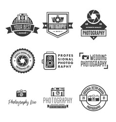 photography logos badges and labels design vector image vector image