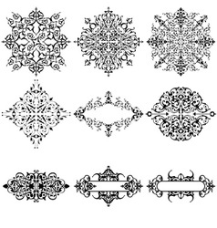 Set of 9 Ornamental Design Elements vector image vector image