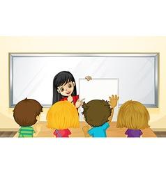 Teacher teaching kids in class vector image vector image