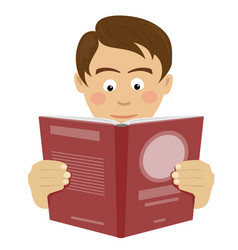 teenager boy reading interesting book vector image
