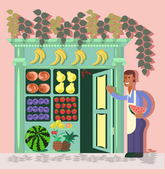 young fruit seller vector image vector image