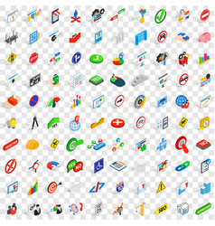 100 decision icons set isometric 3d style vector