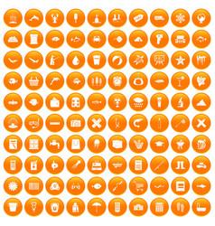 100 fish icons set orange vector
