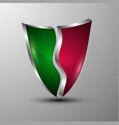 3d logo protection shield divided into colored vector image