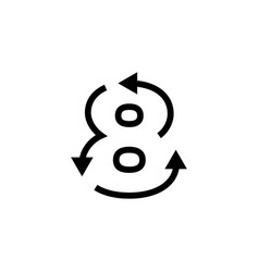 8 eight number recycle logo icon vector