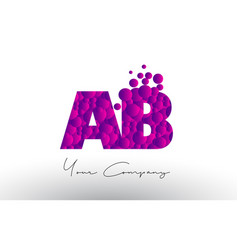 Ab a b dots letter logo with purple bubbles vector