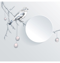 abstract paper background with bird on tree vector image