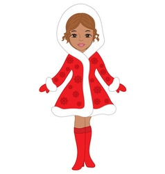 African American Christmas Girl vector