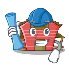 architect a red barn house character cartoon vector image