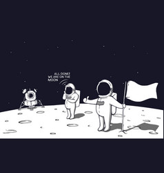 Astronauts landed on the moon vector
