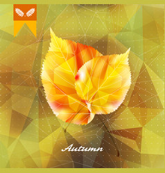 Autumnal leaf background made triangles vector