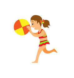 beach game girl in swimsuit with inflatable ball vector image