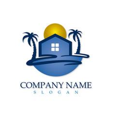 beach real estate logotype vector image