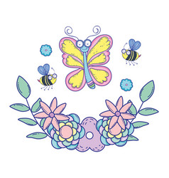beautiful butterfly with floral decoration vector image