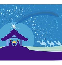 Biblical scene - birth of Jesus in Bethlehem vector