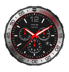 black red silver clock watch chronograph vector image