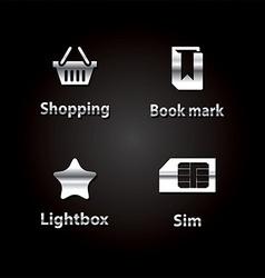 Black silver icon set vector image