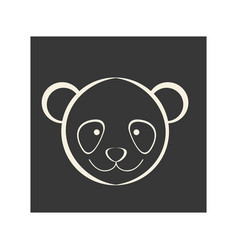 Black square picture of bear animal vector