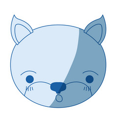 Blue color shading silhouette cute face of kitten vector